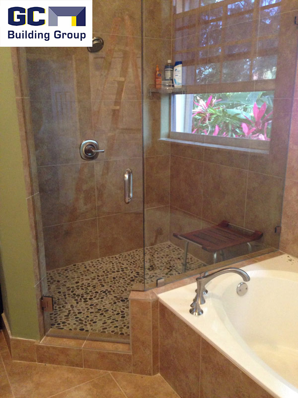 bath addition shower and tub view