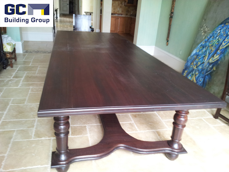custom built dining room wood table