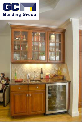 built-in bar in family room